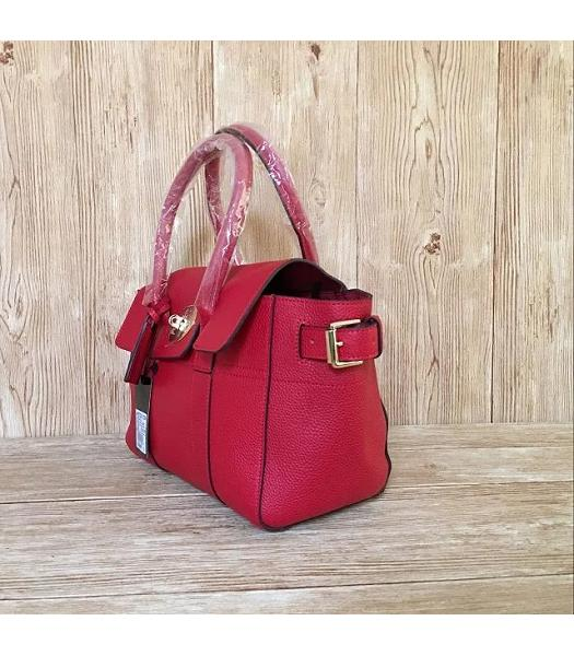 Mulberry Red Plain Veins Leather 28cm Tote Bag-1