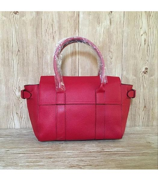 Mulberry Red Plain Veins Leather 28cm Tote Bag-5