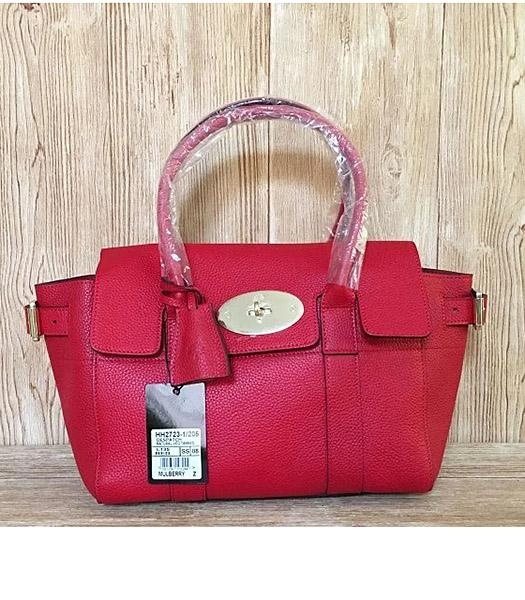 Mulberry Red Plain Veins Leather 28cm Tote Bag