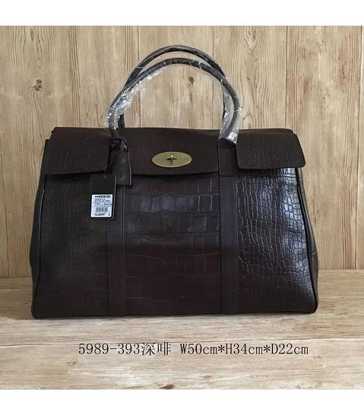 Mulberry Bayswater Dark Coffee Croc Veins Leather 50cm Oversize Bag