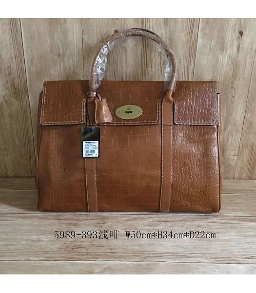 Mulberry Bayswater Light Coffee Croc Veins Leather 50cm Oversize Bag