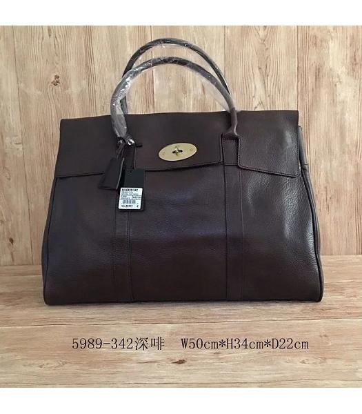 Mulberry Bayswater Dark Coffee Plain Veins Leather 50cm Oversize Bag