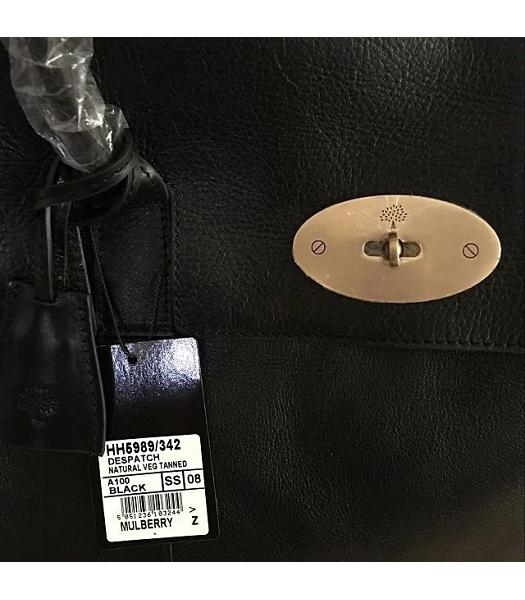 Mulberry Bayswater Black Plain Veins Leather 50cm Oversize Bag-6