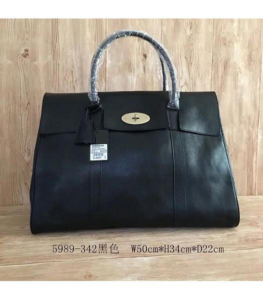 Mulberry Bayswater Black Plain Veins Leather 50cm Oversize Bag